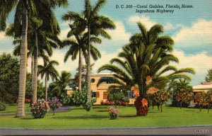 Florida Coral Gables Beautiful Home On Ingraham Highway Curteich