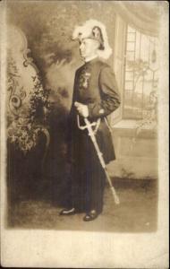 Fraternal Masonic - Man in Uniform Hat Sword etc c1915 Real Photo Postcard