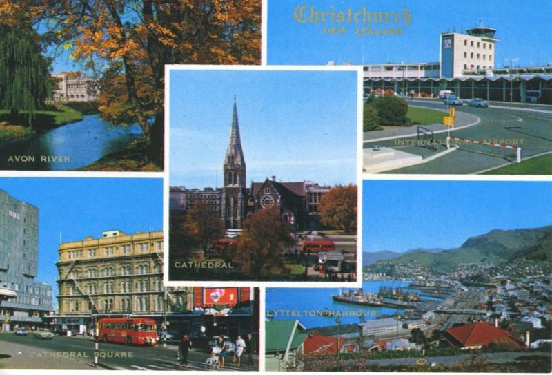 Christchurch NZ Lyttelton Harbour Avon Airport Cathedral Multiview Postcard D22