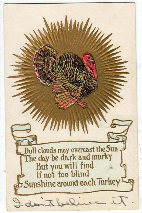 Greeting - Thanksgiving, Verse & Turkey