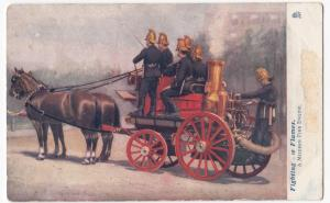 A Modern Fire Engine PPC, Tuck Fighting The Flames Series, Oilette, Unposted
