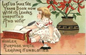 Christmas - Little Girl Writing in Book HBG Griggs c1910 Postcard
