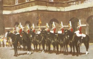 The Life Guards at the Changing pof the Guard Ceremony Vintage Salmon postcard