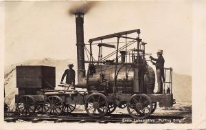 Real Photo Postcard~Erste Lokomotive~Puffing Billy~Steam Engine~RPPC Germany