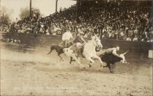 Rodeo Cowboy Schultz Bulldogging c1920 Real Photo Postcard dcn