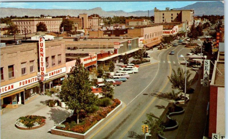 GRAND JUNCTION, Colorado  CO    MAIN STREET Scene  Businesses  1966 Postcard