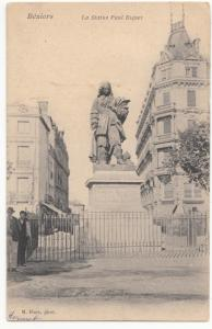 France, Beziers, La Statue Paul Riquet, Postcard CPA