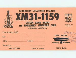 Comic - Qsl Ham Radio Card In Winnipeg Manitoba MB Canada t1651