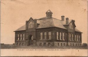 Harlem Montana~First Ward School~1909 Sepia Postcard
