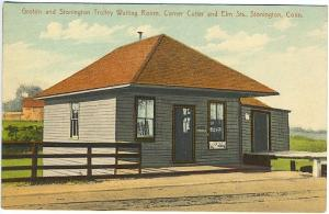 Stonington CT Groton Trolley Waiting Room Cigarette Sign Vintage Postcard