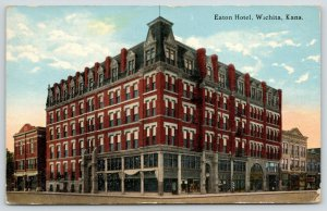 Wichita Kansas~Corner Tower w/Mansard Roof~Eaton Hotel~Barber Pole 1915 Postcard
