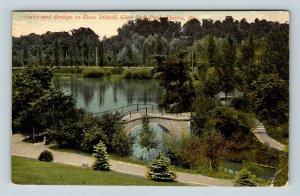 Peoria IL, Lake, Bridge, Glen Oak Park, Vintage Illinois c1915 Postcard