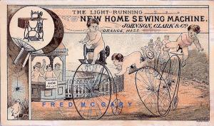 1890 Orange Massachusetts Ad Card: Johnson, Clark & Co. Sewing Machine