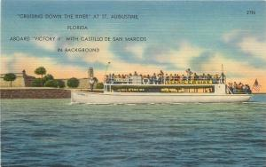 St Augustine Florida~Victory II Scenic Cruise~Excursion Ship~1940 Linen Postcard