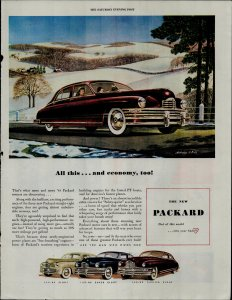 1948 Packard Car 160 HP Custom Eight 145 HP Super Eight Vintage Print Ad 3765