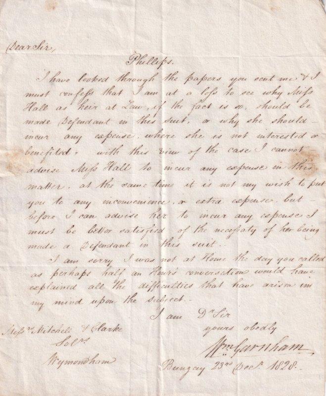 Bungay Wymondham 1828 Victorian Court Trial Antique Norfolk Letter