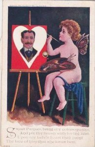 H Harmony Cupid Painting On Mechanical Easel
