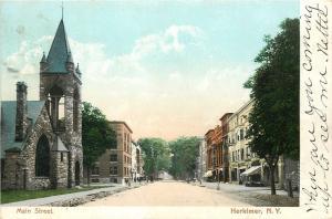 Herkimer New York~Main Street Stores~Church~1906 Postcard