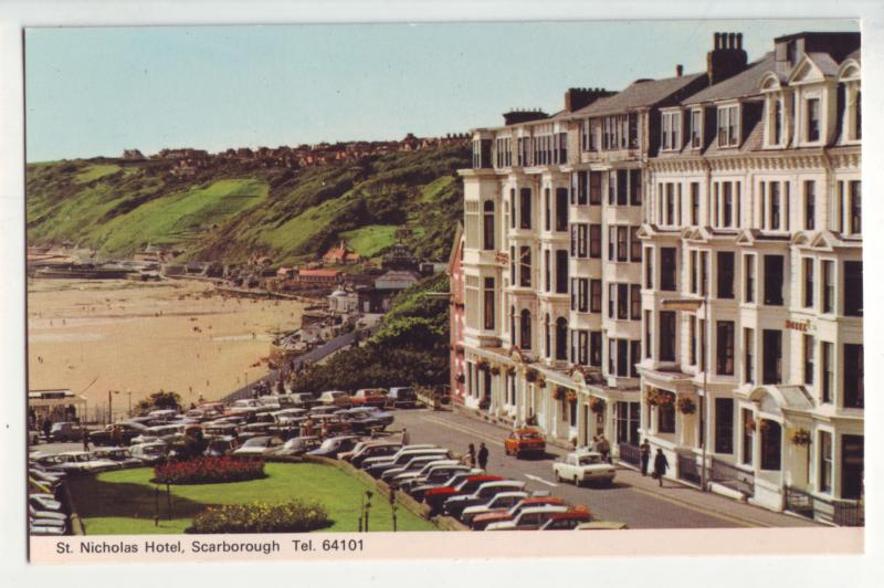 P1154 vintage postcard old cars St Nicholas Hotel in Scarborough United Kingdom.