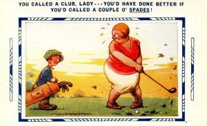 Golf Series - You called a club, lady...    Artist Signed: Douglas Tempest