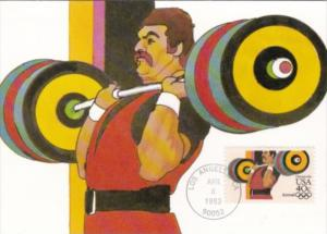 Weight Lifting Stamp 1984 Los Angeles Olympics Artwork By Robert Peak
