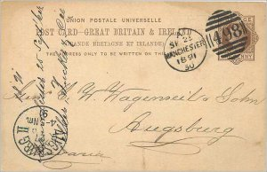 Entier Postal Stationery Postal Britain Great Britain Manchetser to Augsburg ...