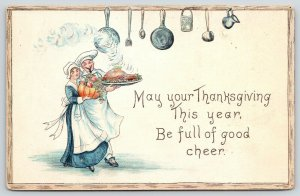 Thanksgiving~Serving Maid Dances With French Chef~Kitchen Pots Pans~Emboss~1914