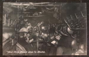 Mint WW1 Germany RPPC Real Picture Postcard U Boat Submarine Troop Room