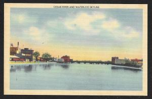 Cedar River & Waterloo Skyline Waterloo Iowa Unused c1940s