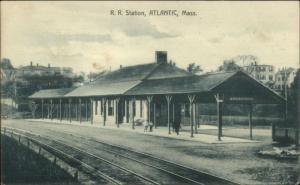 Atlantic MA RR Train Station Depot c1910 Postcard