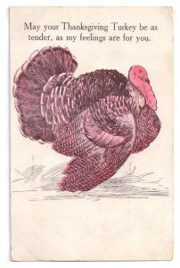 Thanksgiving Turkey Romantic 1908 Postcard Vintage Anglo American Co