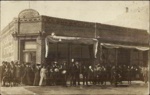 Cresbard SD (On Back) Crowd In Front of Cash Store Real Photo Postcard c1910