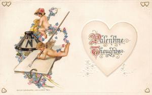 Valentine Calligraphy~Miniature Cupids~Inkwell & Fountain Pen~Emboss~John Winsch