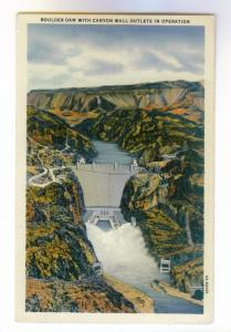 Boulder Dam w/ Canyon Wall Outlets in Operation unused Linen Postcard