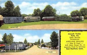East Hartford CT Aircraft Trailers Airplane Dealers Sales Lot Linen Postcard
