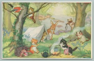 Molly Brett Fantasy~Kittens' Camp~Mom In Apron Stirs Pot Over Fire~Tent~Fishing