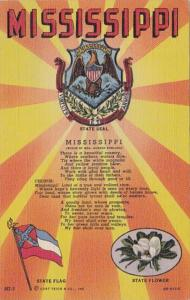 Mississippi State Seal State Flag & State Flower Curteich