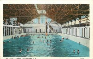 Hot Springs South Dakota~Evans Plunge~Caution: Deep Water~1930 Postcard