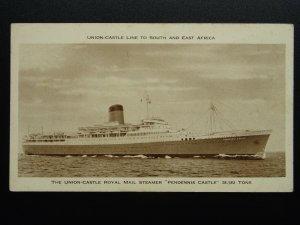 Union Castle Line 'PENDENNIS CASTLE' ROYAL MAIL STEAMER c1930s Postcard