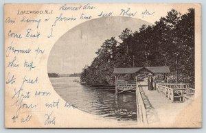 Lakewood New Jersey~Lonely Victorian Woman on Kissing Bridge~1903 B&W Postcard