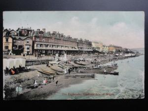 Isle of Wight: The Esplanade Sandown showing Bathing Huts c1907 By Misch & Stock