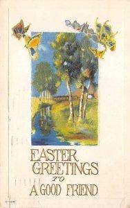 Butterflies Post Card, Butterfly Postcard Easter Greetings 1916