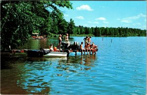 Chetek, Wisconsin Luther Park Bible Camp Swimming Lake in Chrome Postcard Unused
