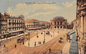 France Montpellier - Place de la Comedie, L'Oenf, tramway, animee CPA