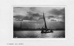 Sunshine & Storm - Sailboat - RPPC, Rotograph