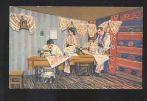 SINGER NO. 15-30 SEWING MACHINE 1914 VINTAGE ADVERTISING POSTCARD SEAMSTRESS