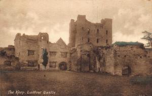 Vintage Sepia Coloured Postcard LUDLOW Castle The Keep SHROPSHIRE