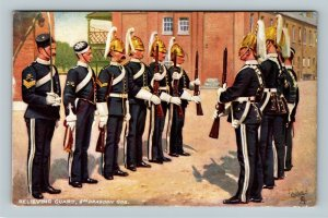 Relieving Guard, 5th Dragoon Guards, Vintage United Kingdom Postcard