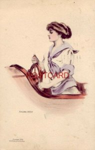 1911 Marjorie McMein illustration Glam Girl pilots a boat
