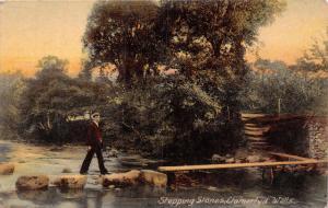 LLANWRTYD WELLS POWYS WALES UK~MAN ON STEPPING STONES~WILLIAMS PUBL POSTCARD